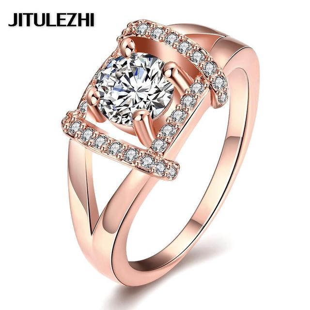 New Rose Gold Color Rings For Female Stone Wedding Ring Bridal Jewelry Joias Ouro Clic