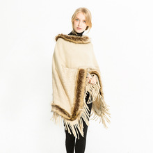 MIARA.L fashion and new ladies shawl collar artificial fur decorated scarf warm cover cape wholesale