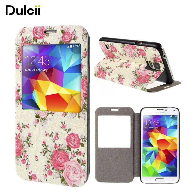 a81da696d Dulcii para SamsungS5Neo teléfono bolso para Samsung Galaxy S5 G900 S5 neo  G903F smartphone Rose ver ventana cubierta de cuero