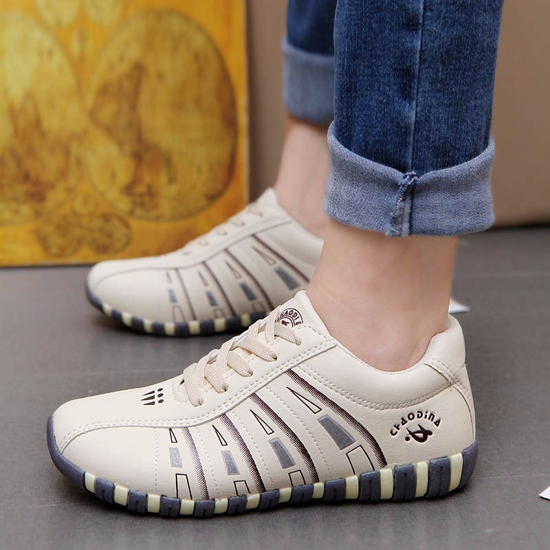 KUYUPP Fashion Breathable Leather Women Casual Shoes Lace Up Woman Trainers Outdoor Women Low Toe Shoes Zapatillas Mujer YD122 (30)