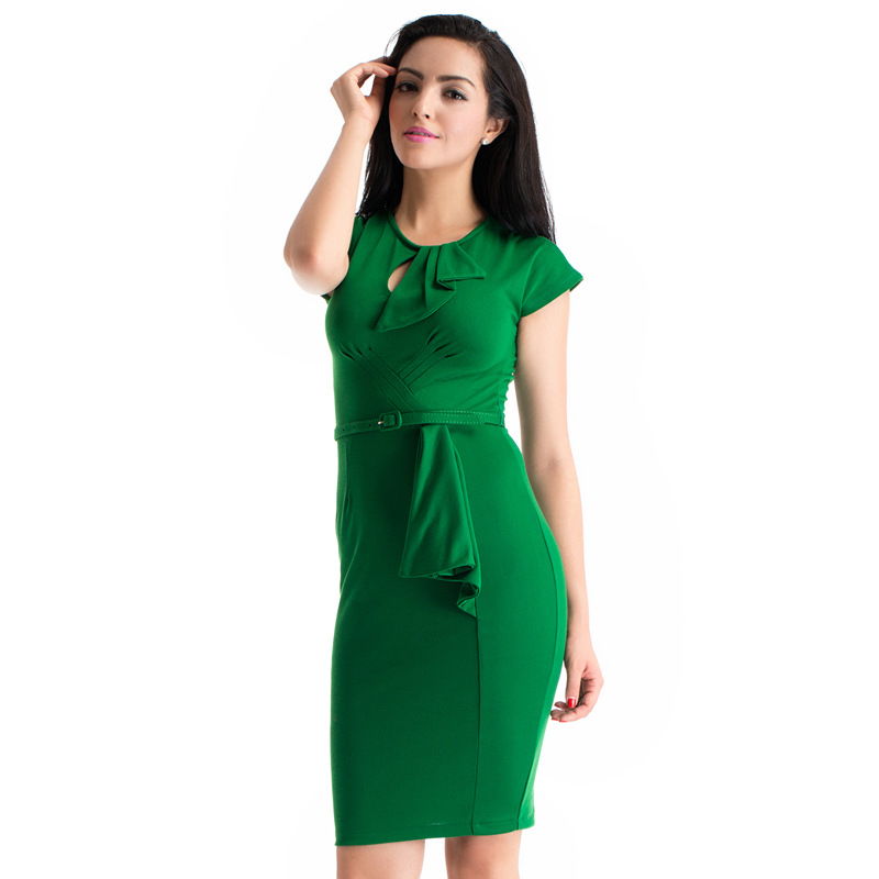 47e49e9bb388 Autumn Winter Vintage 60s Emerald Green Mid Calf Dress Plus Size Retro 50s  Style Body Con Dresses Batwing Sleeve Robe Annee 50-in Dresses from Women's  ...