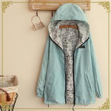 Denim Jacket New Sale 2015 Japanese Mori Girl Women Personalized Hoodies Reversible Thin Solid Coat Fashion Jackets Wear Tops