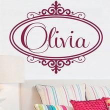Nome customizável espelho padrão de vinil apliques parede menino menina crianças quarto decoração casa arte mural dz09