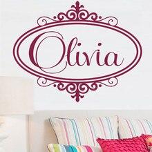 사용자 정의 이름 거울 패턴 비닐 벽 applique 소년 소녀 어린이 방 홈 장식 벽지 아트 벽화 dz09