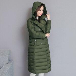 Image 4 - 2020 skręcić w dół kołnierz kurtka zimowa kobiety wyściełane piersi przyciski grube panie Casual długa Parka znosić kobiet jednokolorowy ciepły płaszcz