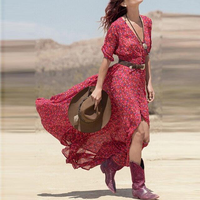 88053f0c13 Bohemian Red Floral Long Boho Beach Summer Dress 2018 Women Sundress Button  Print Ladies Dresses Chiffon Maxi Dress Robe Femme