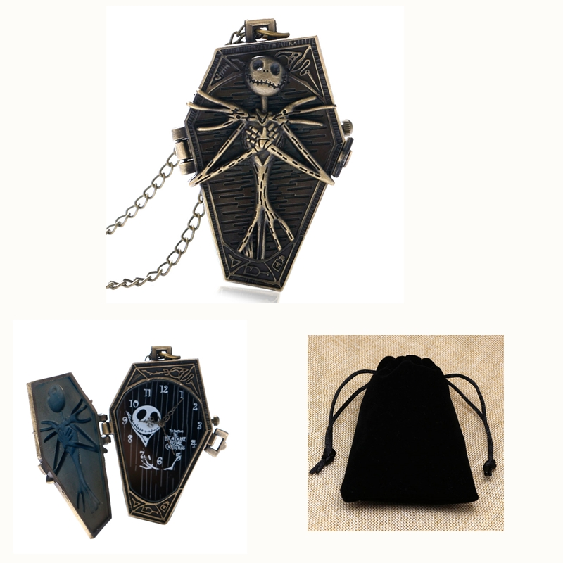 Tim Burton The Nightmare Before Christmas Necklace Pocket Watch Quartz Vintage Skull Jack Skellington Pendant+Black Gift Bag смартфон bq mobile bq 5057 strike 2 gold matt