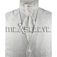 Hot Sale Men S White Small Paisley Waistcoat Set For Suit Vest Ascot Tie Cufflinks Handkerchief
