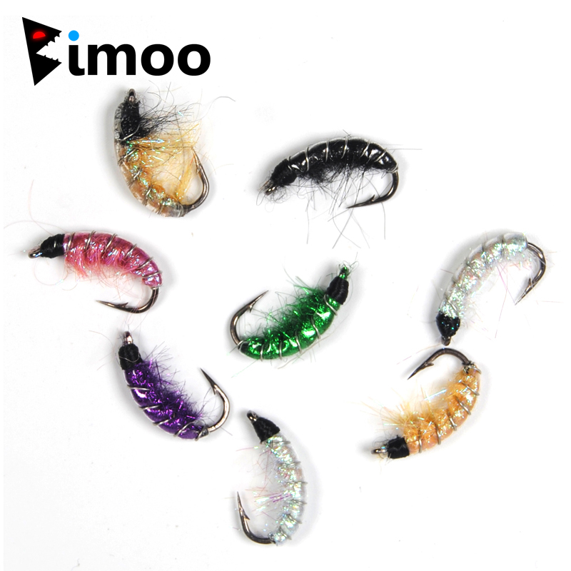 Bimoo 6PCS #6 Trout Fishing Flies Scud Shrimps Scud Cezch Fly Fishing Fly Nymphs Multiple Color 10pcs beadhead pm caddis 14 nymphs dry fly fishing trout flies