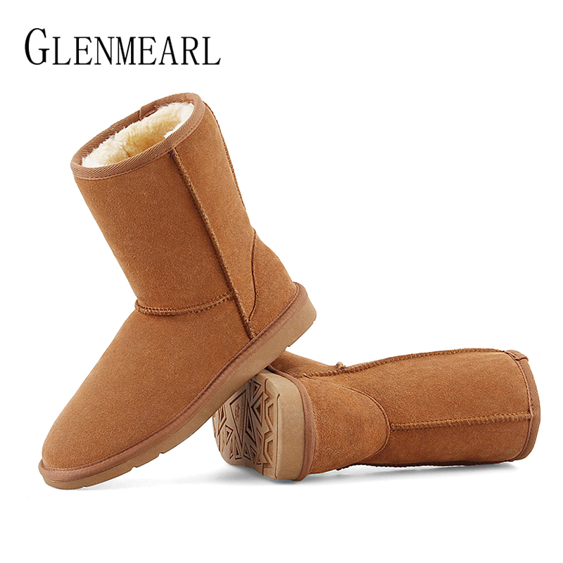 Brand Women Snow Boots Genuine Leather Winter Warm Ankle Boots Shoes Fur Woman High Quality 2018 Flats Boots For Ladies Shoes new 2015 woman fashion genuine leather long winter boots ladies high quality warm footwear platform women shoes boots size 33 40