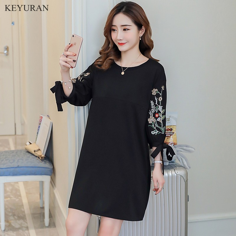 New Arrive Embroidery Pregnant Woman Dress Large Size Loose Breast-feeding Maternity Dress Nursing Dress Clothes for Women Y013