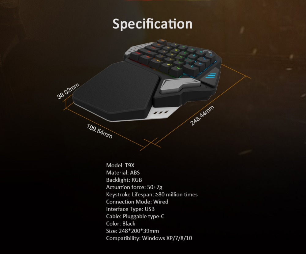 delux, mechanical keyboard, single handed keyboard, one handed keypad, gaming keyboard, programmable keyboard