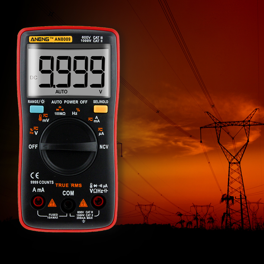 ANENG AN8009 de verdadero valor eficaz (RMS rango automático Digital multímetro NCV ohmímetro AC/tensión DC amperímetro medidor de corriente de medición de temperatura