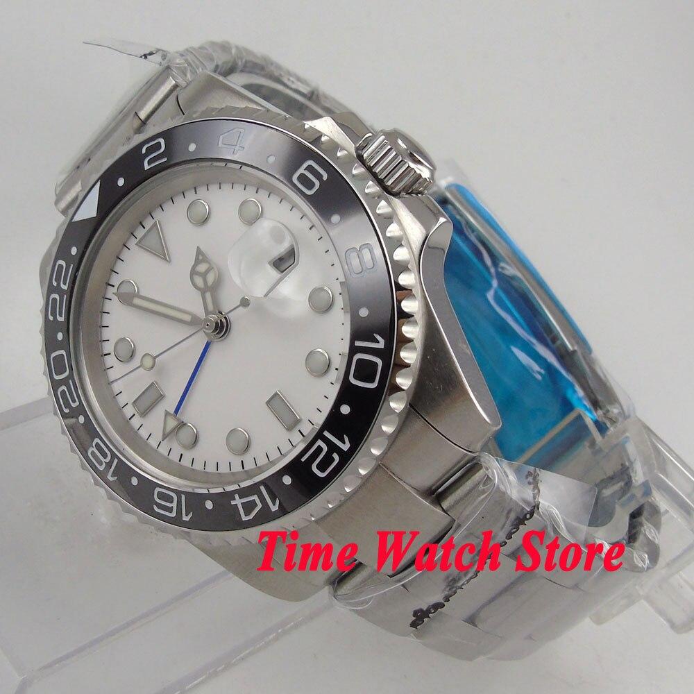 40mm Bliger men's watch GMT white dial luminous sapphire glass ceramic bezel bracelet Automatic movement 282 40mm bliger white dial gmt ceramic bezel sapphire glass automatic mens watch 199