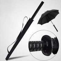 Creative 16K Black Pongee Rain Umbrella Katana Design Long Handle Umbrella Japan Samurai Swords Style Umbrella