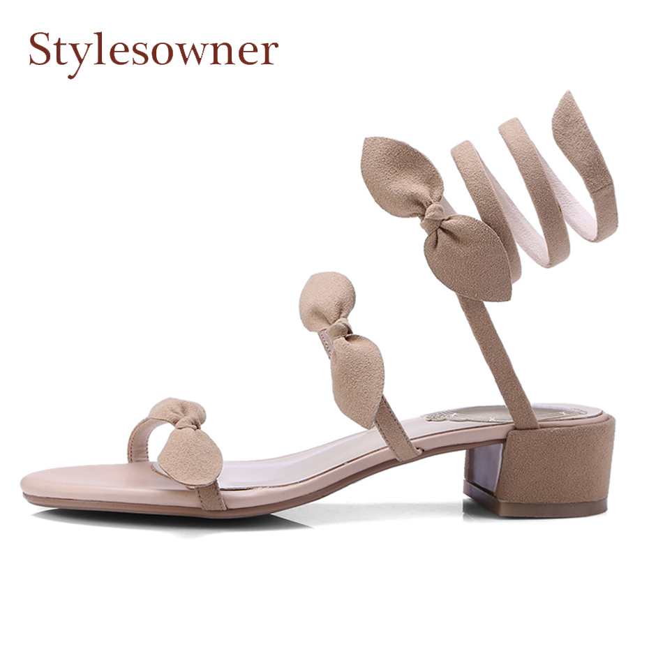 Stylesowner summer new sweet butterfly knot women sandals suede leather ankle strap twining strappy square low heel beach shoesStylesowner summer new sweet butterfly knot women sandals suede leather ankle strap twining strappy square low heel beach shoes