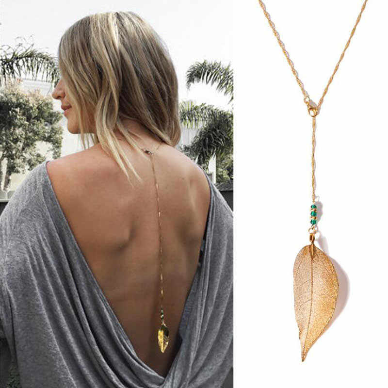 Women Wedding Summer Dress Boho Gold Silver Beach Bikini Bib leaf pendant Backdrop Back Body Chain Necklace Wholesale Jewelry