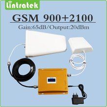 Dual band Signal repeater 2G 3G EDGE/ HSPA GSM 900MHz UMTS 2100MHz WCDMA Cellular Signal Booster full set with Antenna and Cable