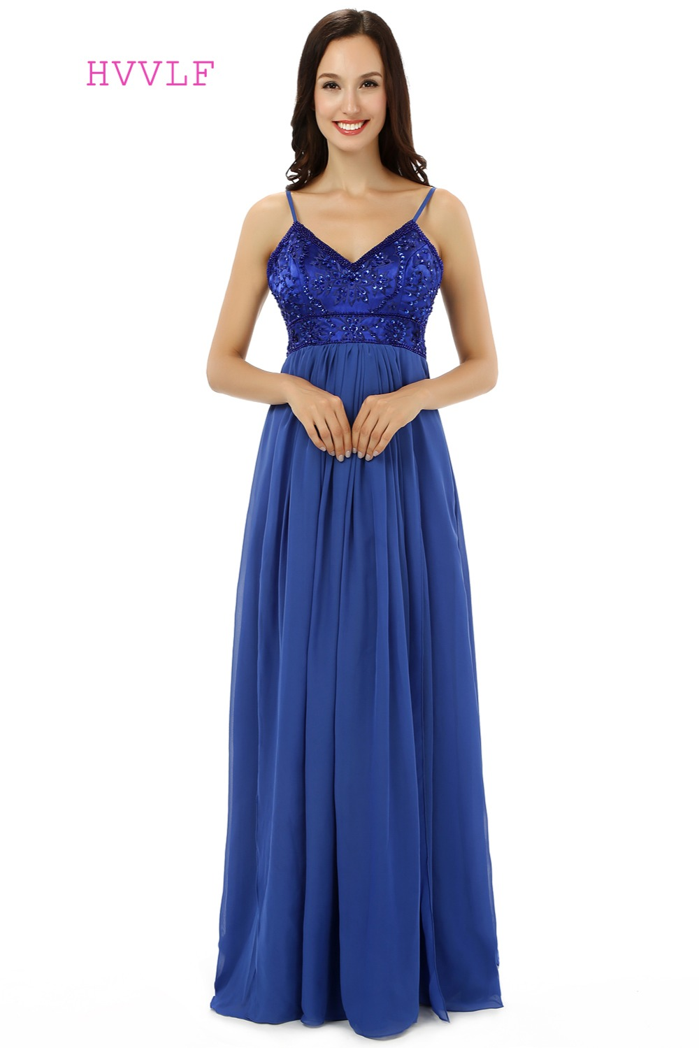 Maternity prom dress prom dress for pregant women - Royal Blue Evening Dresses 2017 A Line Spaghetti Straps Chiffon Bead Embroidery Maternity Long Evening