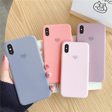 Lovely heart  plain case for iphone 8 plus silicone soft matte candy color cover iPhone10 6 7 X XS MAX XR