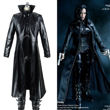 Underworld 4 eveil Selene Cosplay deguisement femme plissage hiver noir Trench Long pantalon