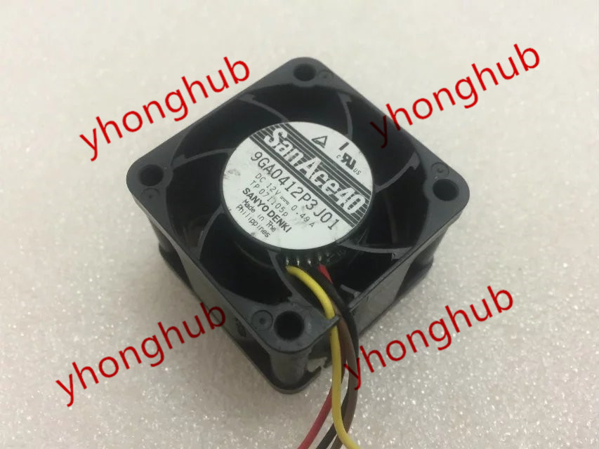 Free Shipping For Sanyo 9GA0412P3J01 DC 512 0.49A 3-wire 40mm, 40x40x28mm Server Square fan