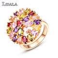 LUALA 2016 Новый Женский Ювелирные Изделия Многоцветный CZ Бриллиантовое Обручальное Кольцо Классический Большой Цветок Позолоченные Кольца Для Женщин Подарок