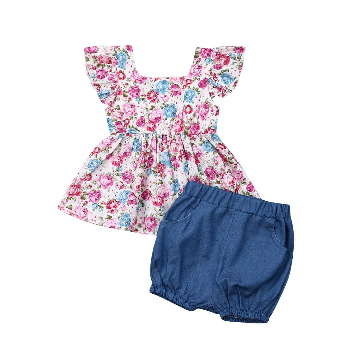 Toddler Kids Baby Girl Tops T-Shirt Dress Short Pants Outfits Clothes Summer Set