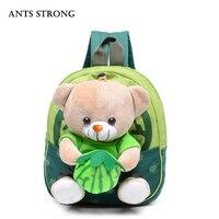 FORMIGAS FORTE Bonito dos desenhos animados saco de escola das crianças/saco de lona 1-3 anos de idade ombro Coreano saco saco de presente de aniversário