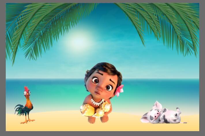 7x5ft Palm Tree Blue Sea Sand Beach Baby Moana Animals