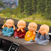 Car Ornaments 4Pcs/Set Little Cute Kong Fu Monk Maitreya Buddha 4 Dont Resin Monks Auto Deco Home Doll Gift Toy Pendants