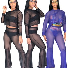 Women 2 Pieces Set Sheer Mesh Club Outfit Long Sleeve Crop Tops And Pants Sexy Suit Wear for Womens Solid Transparent Cloth
