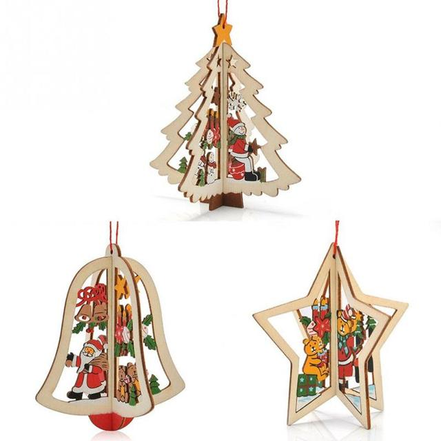 Us 188 30 Offaliexpresscom Buy Wholesale 3d Wooden Christmas Decoration Xmas Tree Hanging Home Party Decoration Funny Ornaments Dropship From