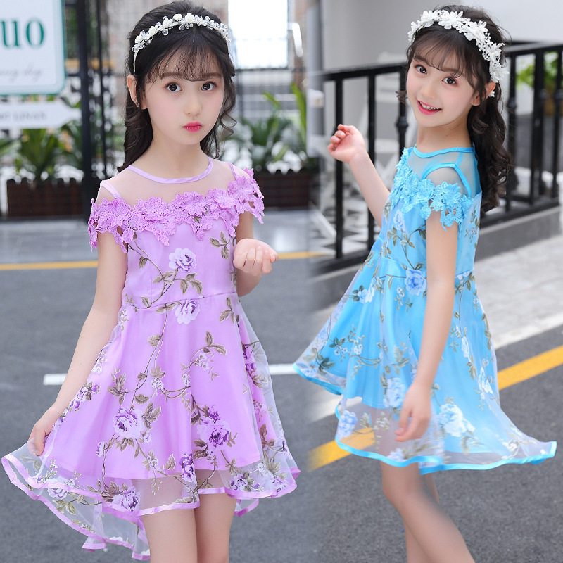 New 2018 Kids Girls Summer Clothing 3D Flowers Floral Organza Dress Princess For Baby Girls Casual Dress 3 4 <font><b>5</b></font> 6 7 8 9 12 Years image
