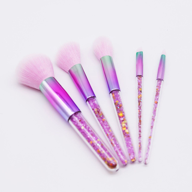 New 5pcs Pink Purple Diamond Unicorn Crystal Makeup Brushes Set Shinny Foundation Blending Face Brush OPP bag Package maquillaje