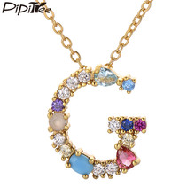 Pipitree Trendy Copper Multicolor Cubic Zirconia Initial Letter Necklaces for Women Name Alphabet Pendant Chain Necklace Jewelry(China)