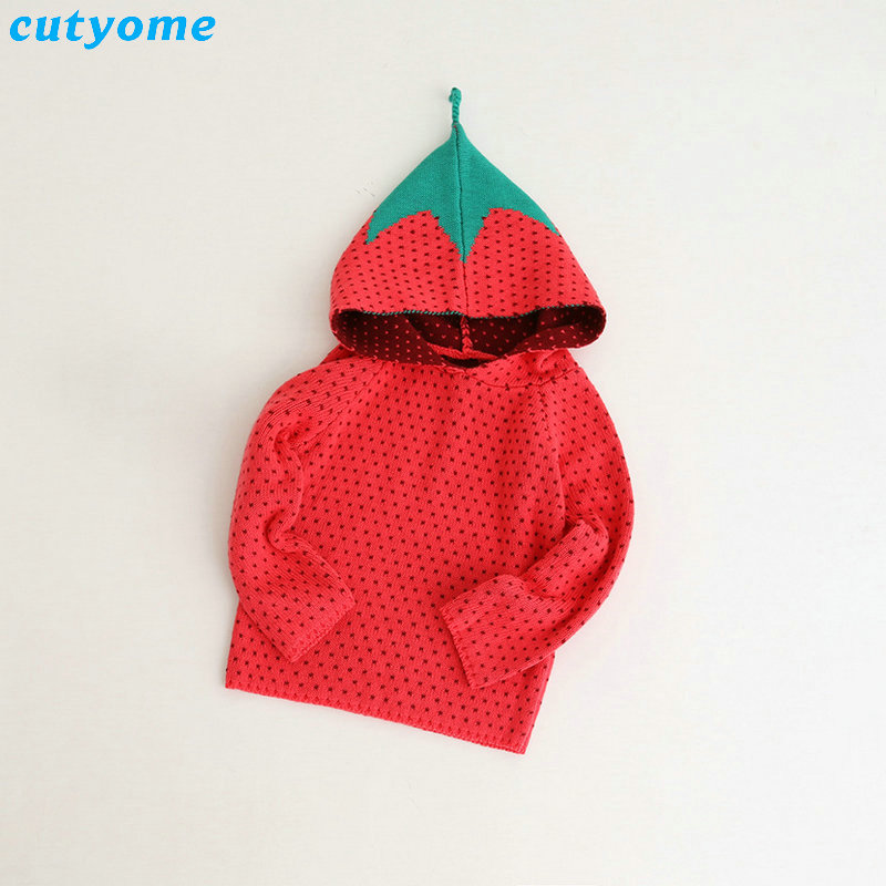5pcs/lot Toddler Kids Girls Hooded Cardigan Knitted Clothing Long Sleeve Fruits Costumes Sweaters Clothes Christmas Warm Sweater sweater girls yellow 80% wool knit clothes children child cardigan girl coats winter girl clothes kids sweaters toddler knitted