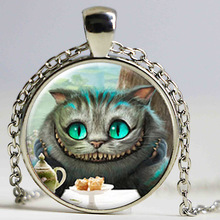 Wholesale Alice in Wonderland Necklace Cheshire Cat Necklace Fairytale Jewelry Girls Glass Cabochon Necklace