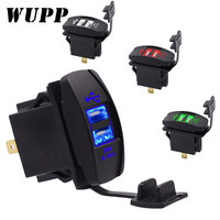 WUPP Dual USB Car Charger Power Adapter 3.1A 5V Dual USB Socket Charger DC 12V 24V For iPhone 5 6 6S Samsung Android