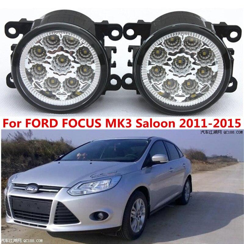 For FORD FOCUS MK3 Saloon 2011-2015 Car styling front bumper LED fog Lights high brightness lamps 1set