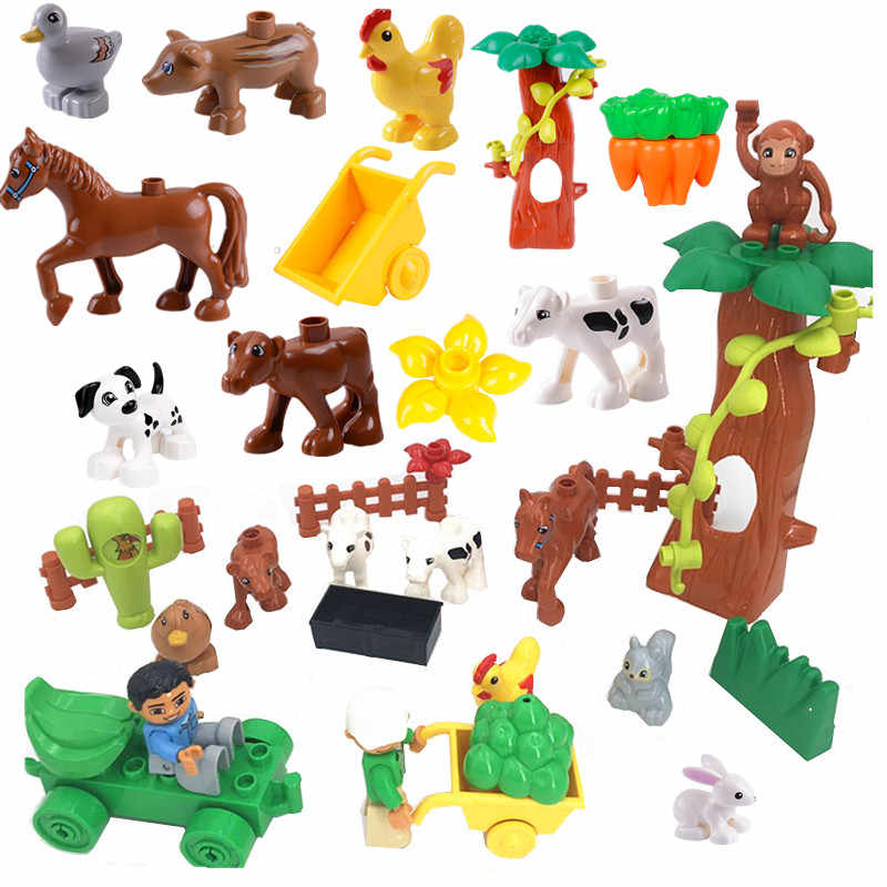 Single Sales Diy Animal Farm Building Blocks Big Size Compatible with L Brand Duploed Parts Toys for Children Christmas Gifts