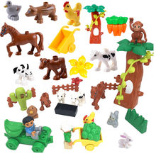 Única venda diy animal fazenda blocos de construção tamanho grande compatível com duploed peças brinquedos para crianças presentes natal