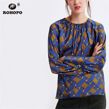 ROHOPO Women Long Sleeve Blouse O Neck Pullover Dot Striped Blue Ladies Retro Autumn Shirt #ZX1957