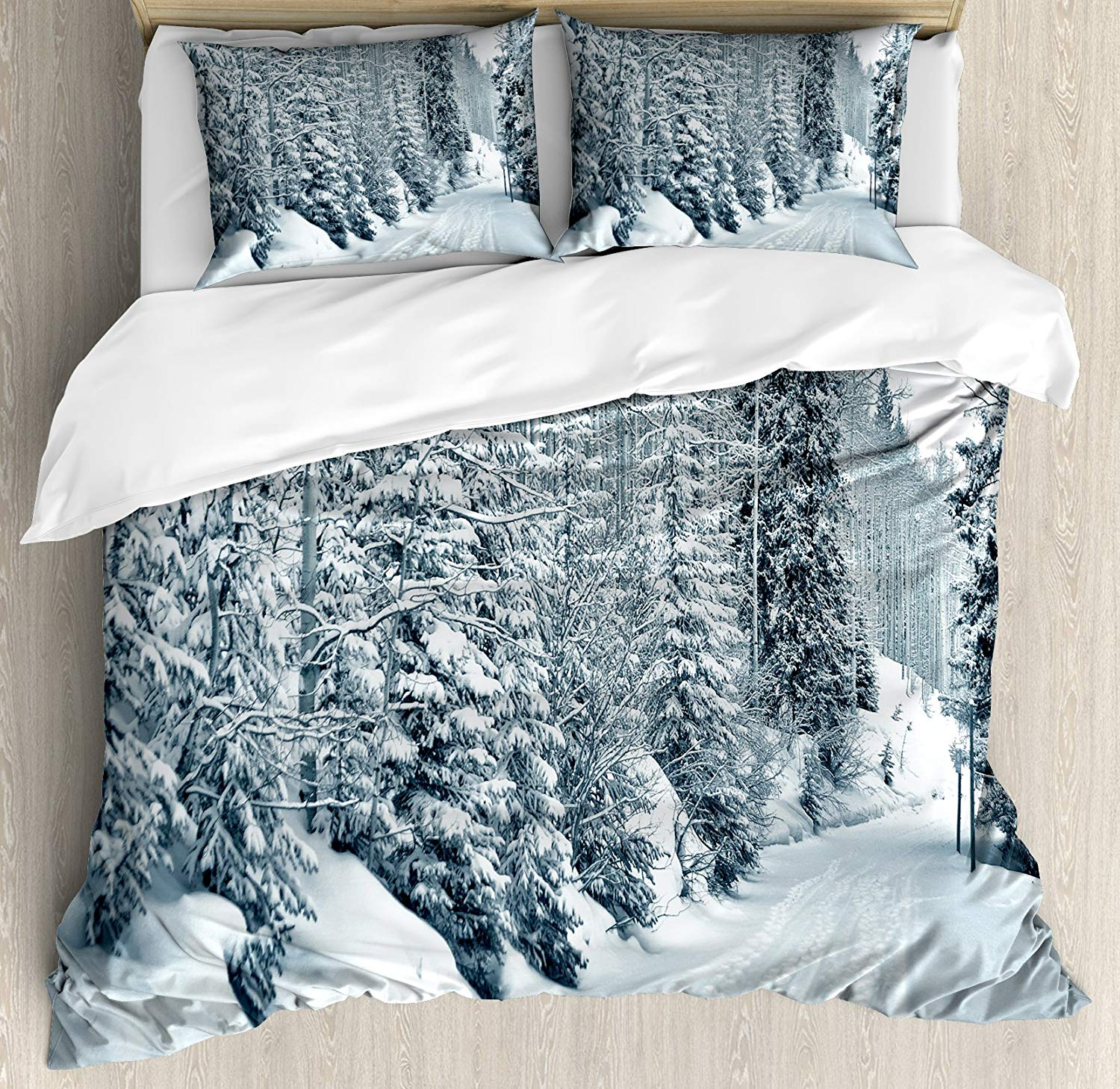 Winter Duvet Cover Set Queen Size Ski Themed Snowy Road Cold Parts of The World Footprints Colorado United States Bedding SetWinter Duvet Cover Set Queen Size Ski Themed Snowy Road Cold Parts of The World Footprints Colorado United States Bedding Set