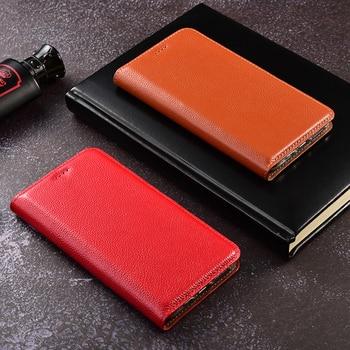 5a671df5c7e De cuero genuino Flip caja del teléfono para LG Aristo 2 Leon H340N H320  H324 G6 G7 espíritu H420 H440 C70 ThinQ funda con soporte Plus