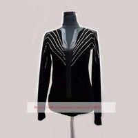 Bodysuit Ballroom Dance Shirt Black Latin Top Velvet Diamond Men Dance Shirt For Cha Cha/Rumba/Samba/Tango/Jazz/Waltz Wear
