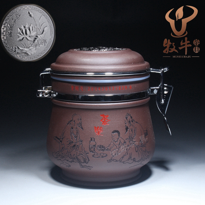 Yixing Zisha tea pot of different mud sealing medium and small ore storage tea pot shop cheap tea mixed batch yixing zisha tea caddy authentic fine workmanship high grade tea pot square box mixed batch