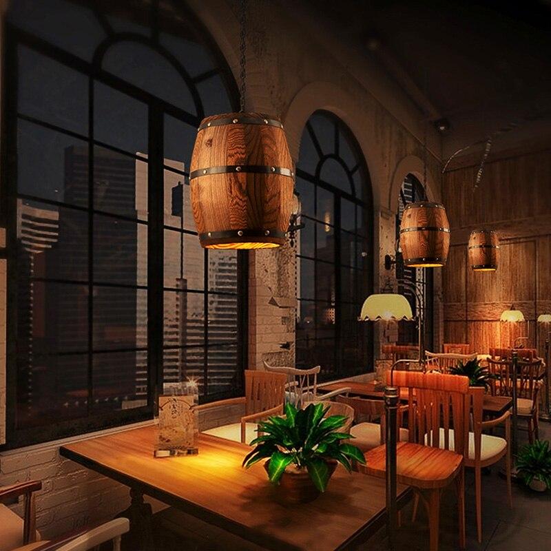 Wood Wine Barrel Hanging Fixture Pendant Lighting Suitable For Bar Cafe Lights Ceiling Restaurant Barrel Lamp