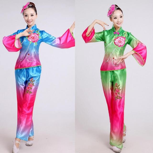 49a2056f1 Modern chinese folk dance costume younger yangko dance costume women's drum  dance performance wear fan dance Outfits
