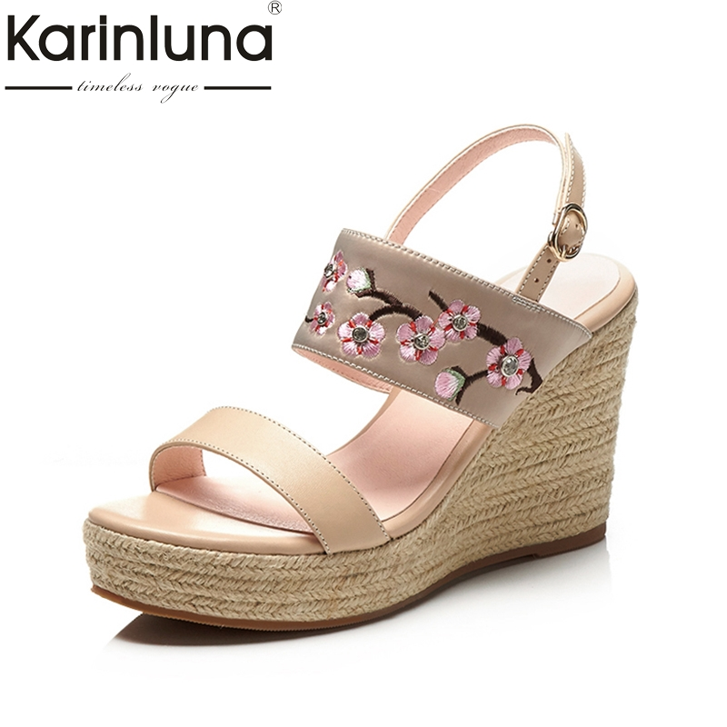 KARINLUNA 2018 Cow Genuine Leather Summer Sandals Sweet Party Shoes Women Platform High Heels Wedges Embroider Woman Shoes lenkisen genuine leather big size wedges summer shoes gladiator super high heels straw platform sweet style women sandals l45